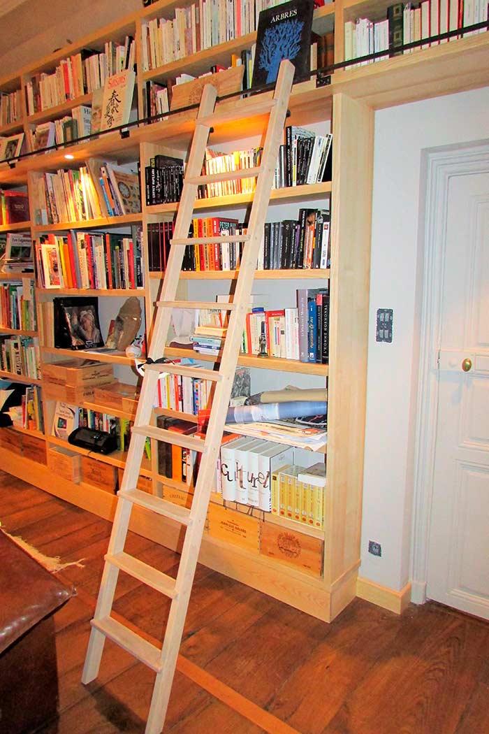 Bibliotheque-murale-en-frene-massif-brut-echelle-deplacable-et-crochetable-crochet-en-acier-ainsi-que-la-lisse-(3)